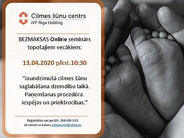 Online seminārs par nabassaites cilmes šūnu saglabāšanu dzemdību laikā 13.04. plkst.10:30